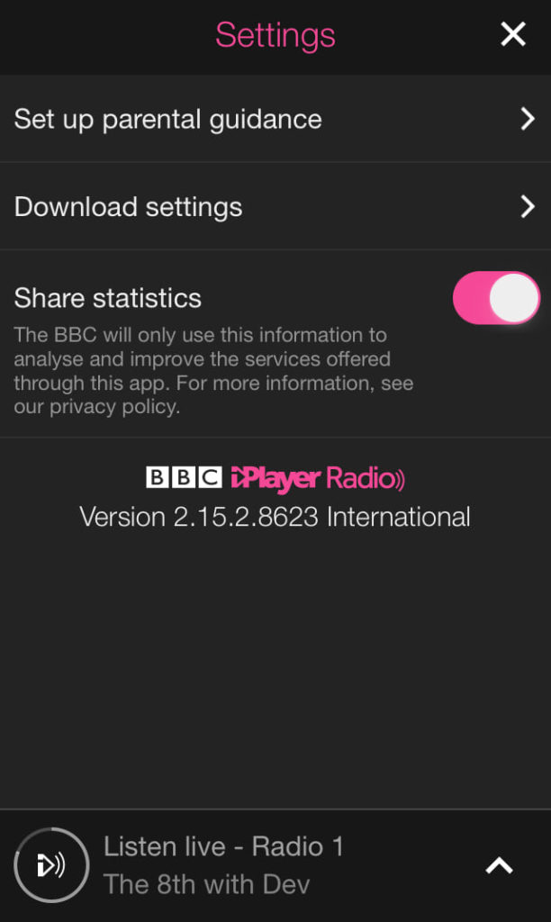 BBC iPlayer Radio mobile privacy settings are customizable.